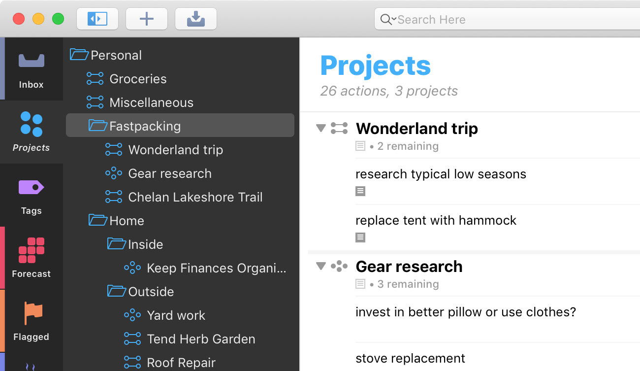 Screenshot showing the Projects perspective selected, with a hierarchy of projects.