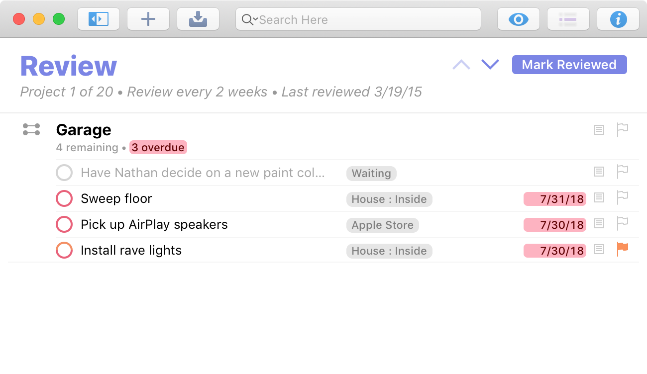 Screenshot showing the Review perspective, with a Mark Reviewed button.