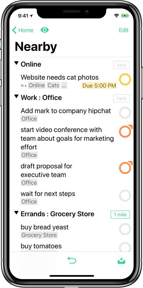 Screenshot showing OmniFocus open to the Nearby perspective.