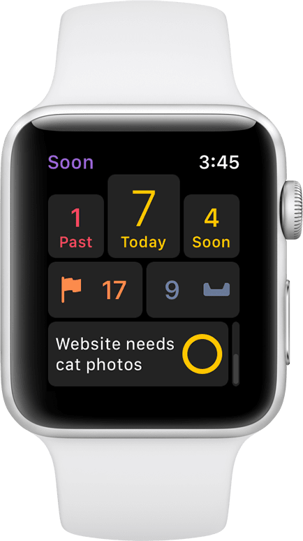 Screenshot of OmniFocus running on an Apple Watch, showing the next due item and counts for Past Due, Today, Soon, Flagged, and Inbox.
