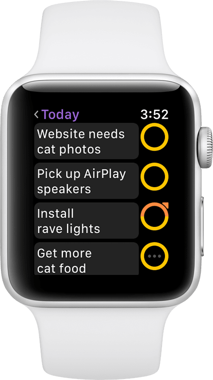 Screenshot of OmniFocus running on an Apple Watch, with a list four actions.