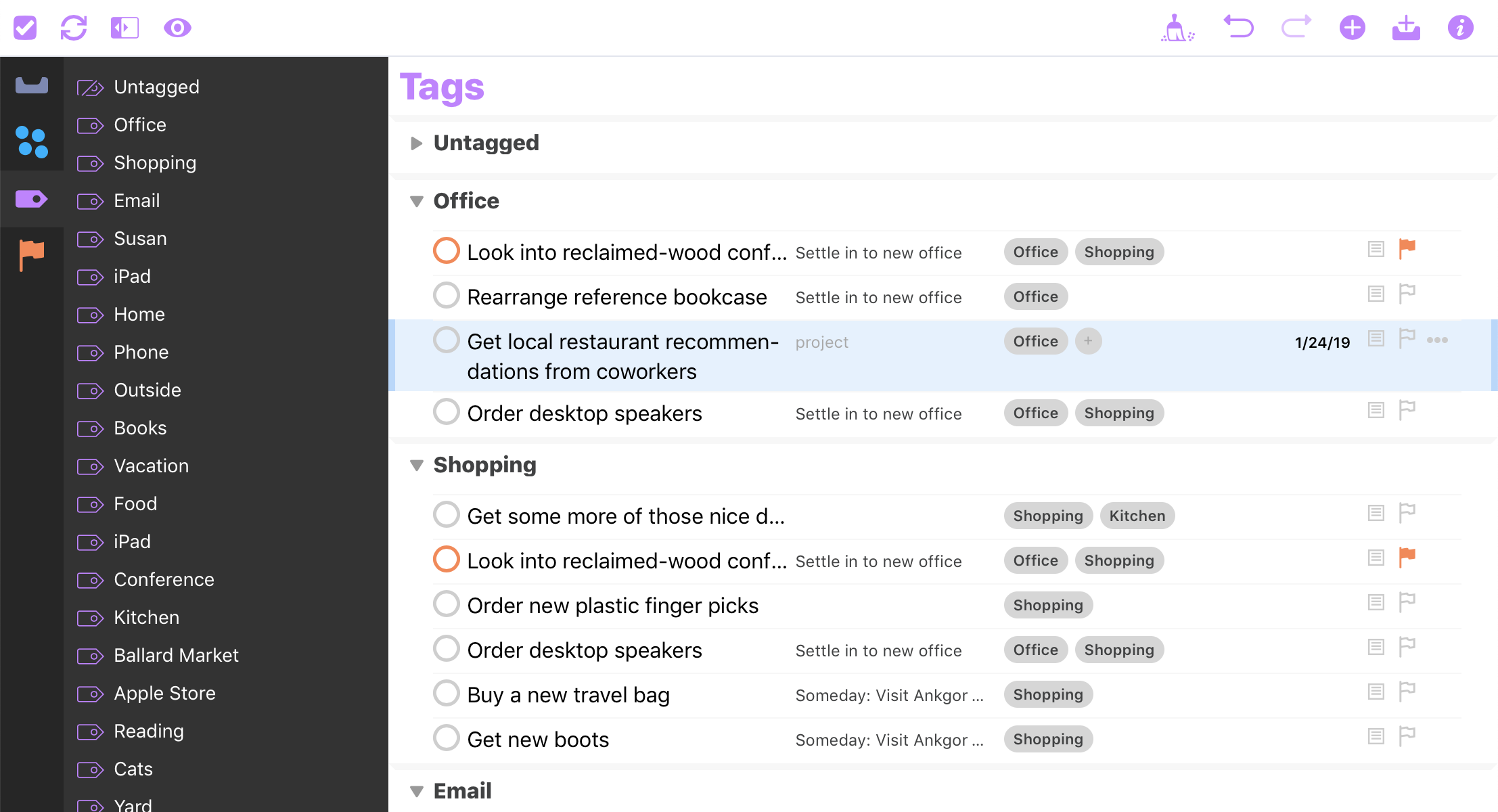 A screenshot of OmniFocus for the Web.