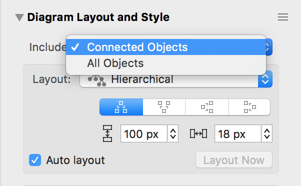 Screenshot showing the Connected Objects option in the Diagram Layout inspector.