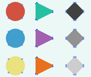 Screenshot showing shapes with visible, editable points.