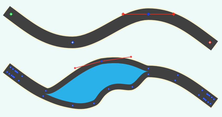 Screenshot of two curvy lines converted to Bézier shapes.