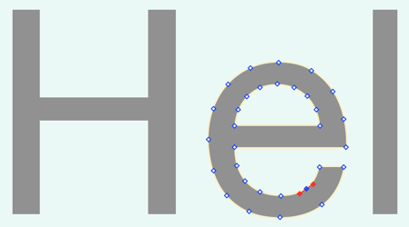 Screenshot showing a lowercase letter e converted to a Bézier shape, with visible handles.