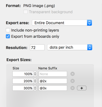 Screenshot of the export panel, with options for format, size, and more.