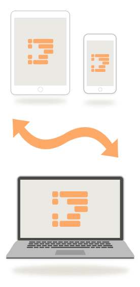 Graphic representing OmniOutliner syncing between a Mac, iPhone, and iPad.