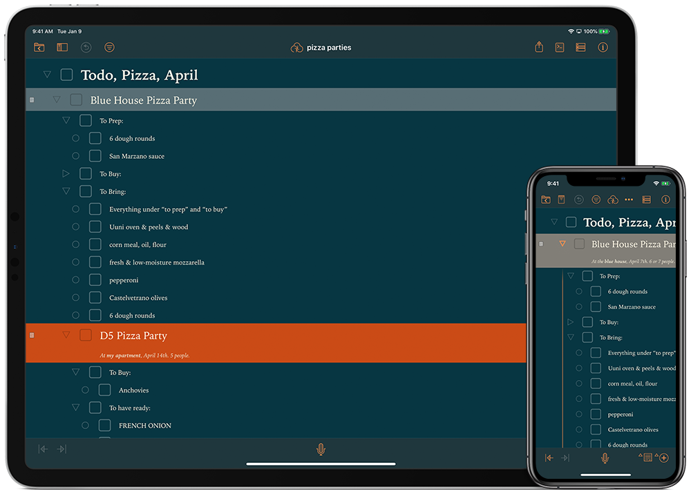 OmniOutliner running in Dark Mode on an iPad and on an iPhone, showing a to-do list for throwing a pizza party.