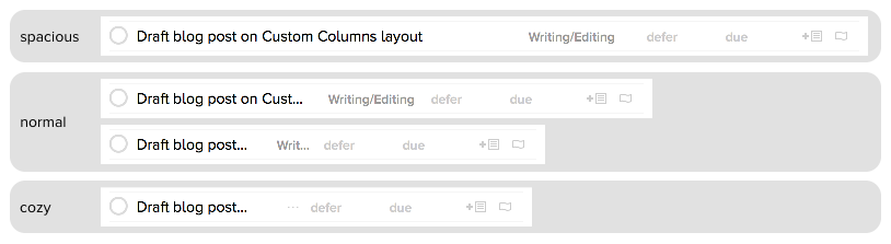 Examples of Custom Columns layout at various widths