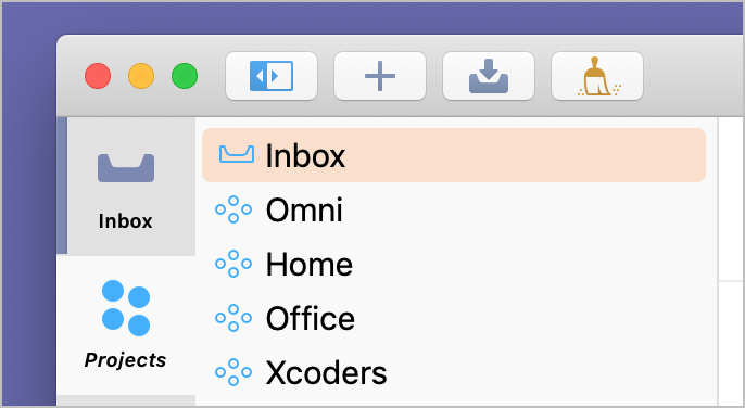 Screenshot showing the Inbox included in the Projects tab