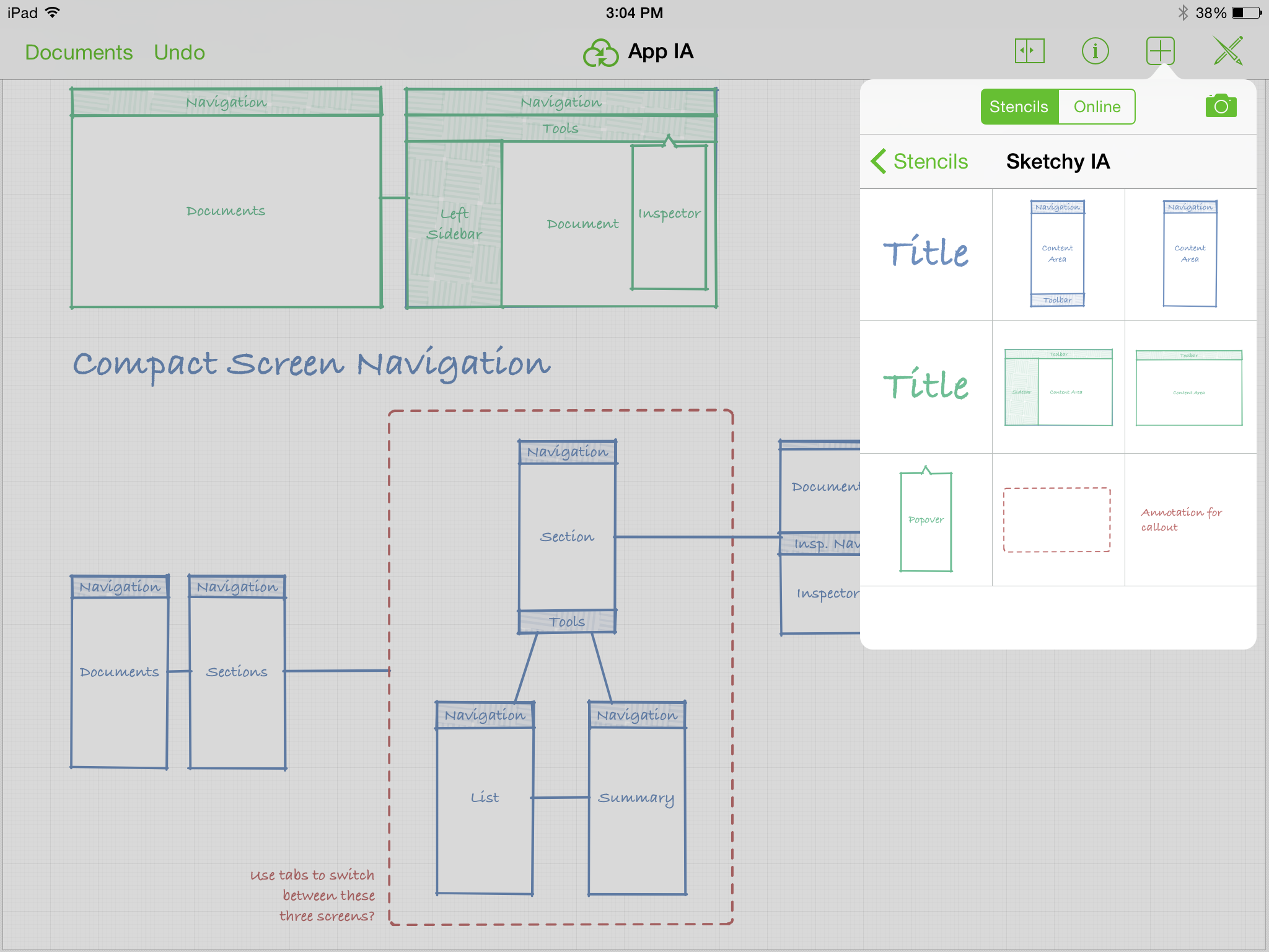 Introducing omnigraffle 2 for ipad the omni group screenshot of app ia document with stencils ccuart Image collections