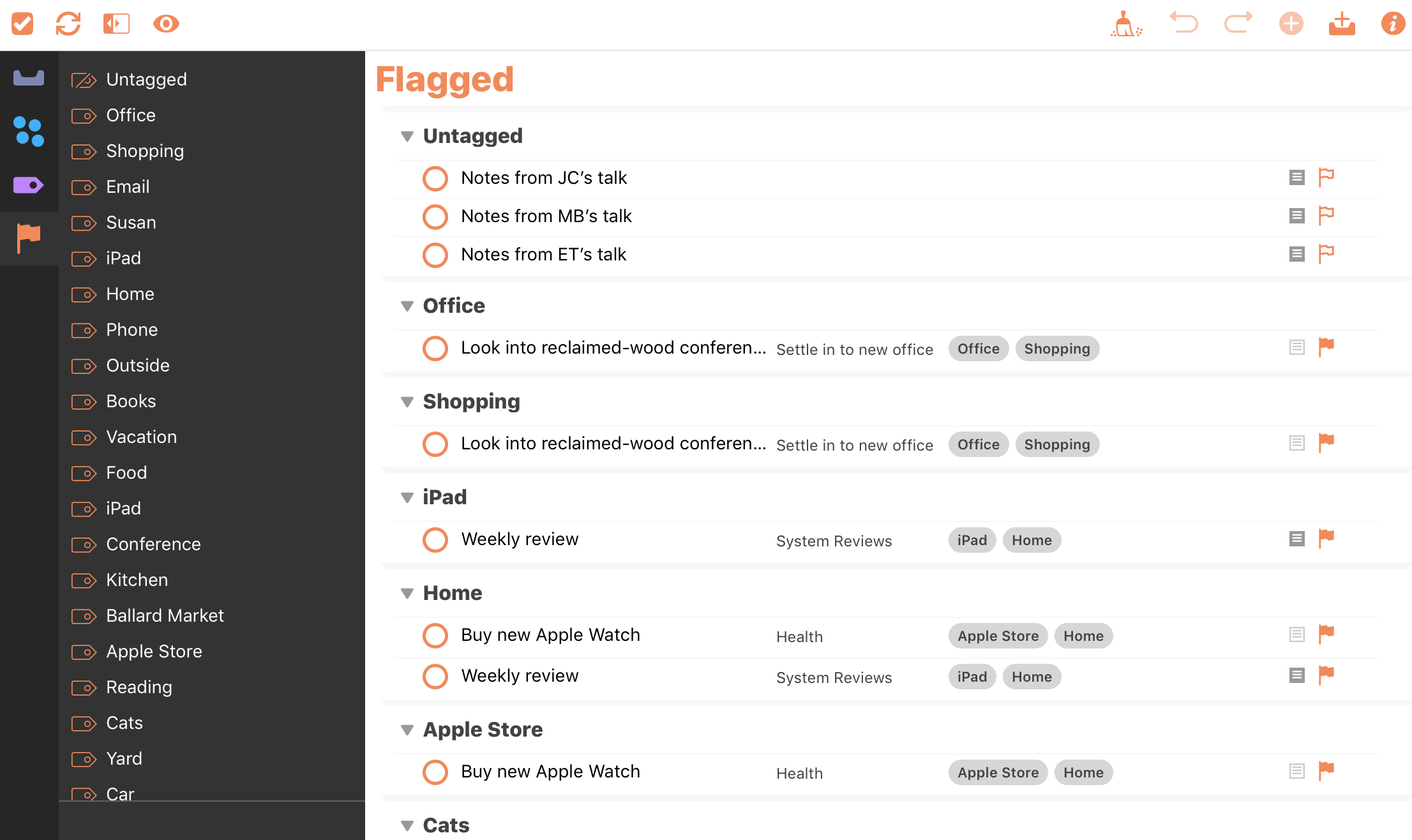 Screenshot of the OmniFocus Flagged perspective, showing a number of flagged actions.