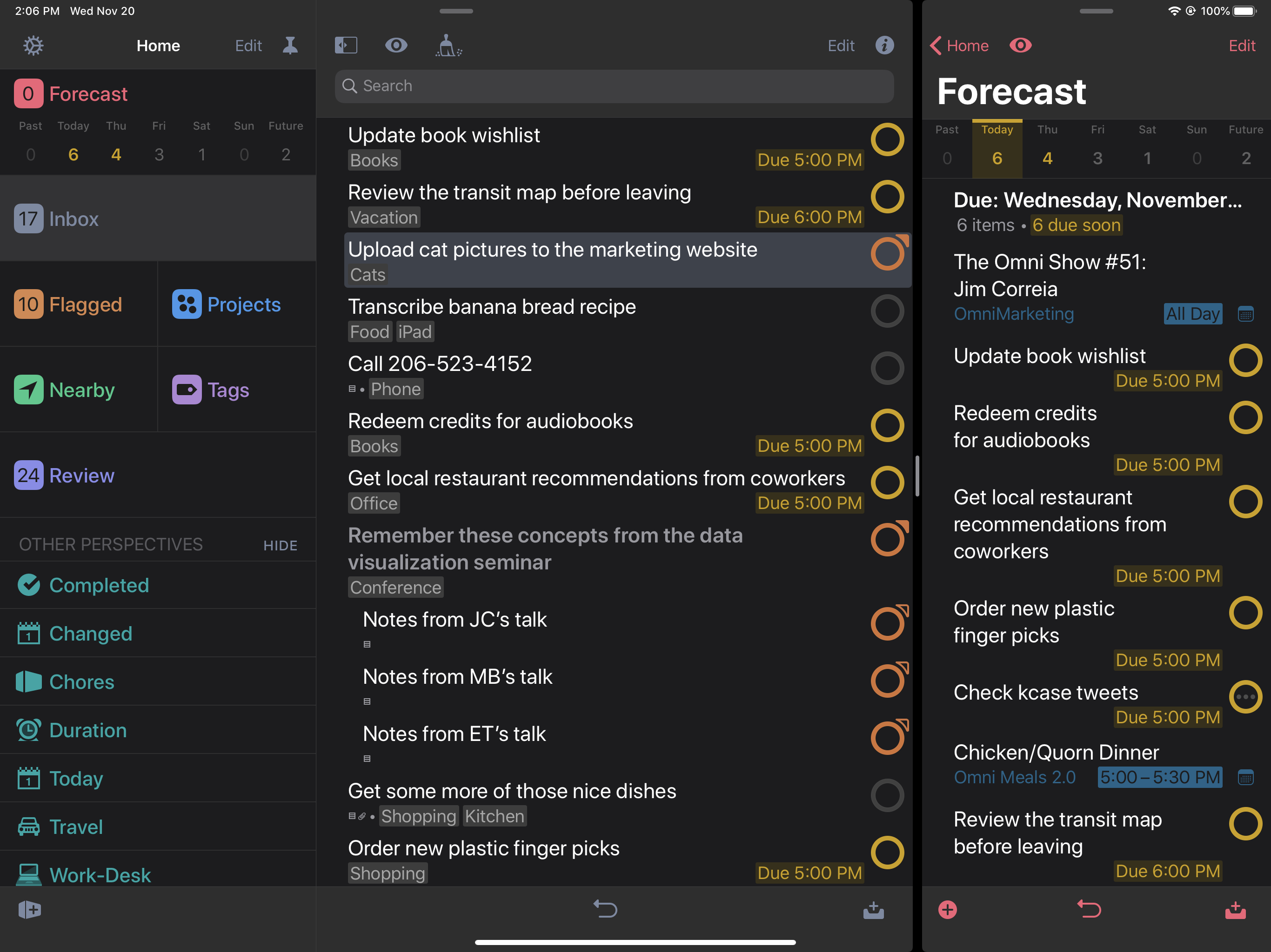 Screenshot showing OmniFocus running on an iPad, in Dark Mode, with one window showing Inbox and a second window showing Forecast.