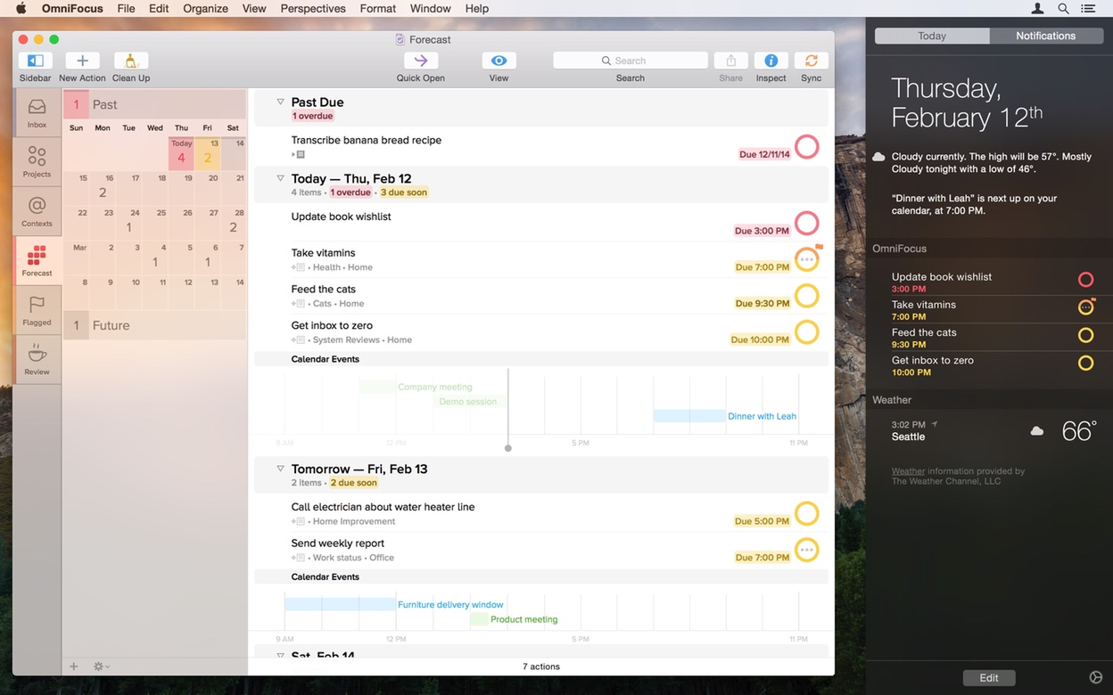 Screenshot of OmniFocus 2.1 with a vibrant sidebar, new toolbar icons, and a Today extension