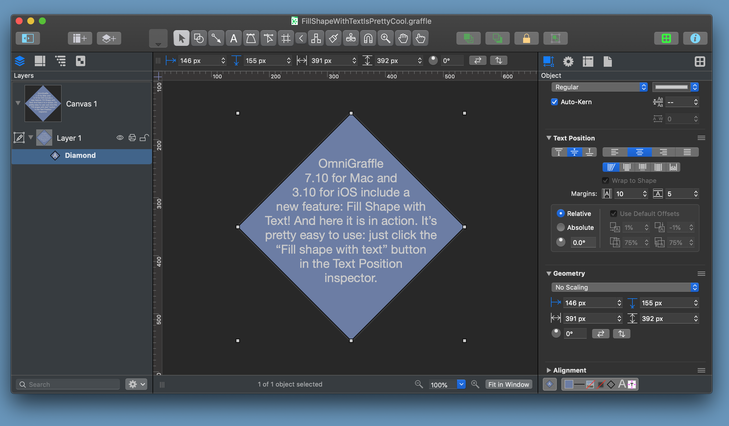 Screenshot of OmniGraffle for Mac showing text fitting inside a diamond shape.
