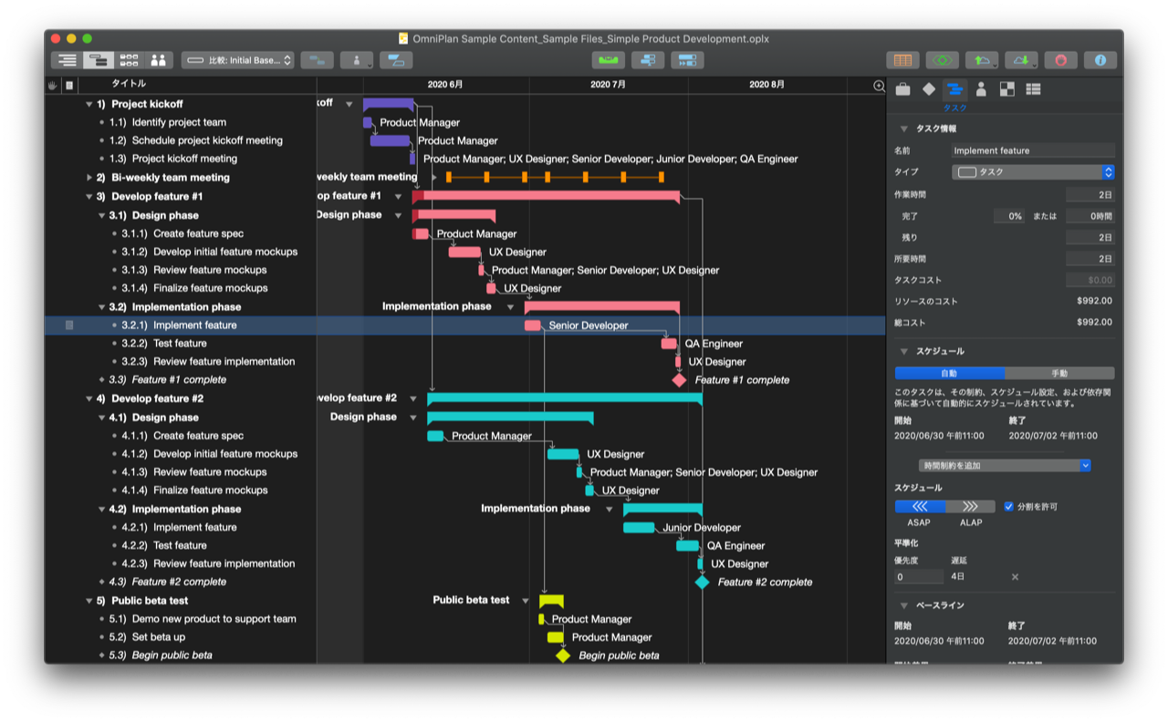 OmniPlan 4.1 Localized Gantt View
