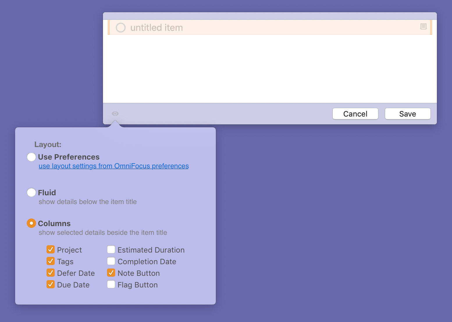Screenshot showing the Quick Entry window's view options