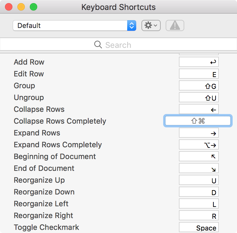 Keyboard Shortcuts Menu