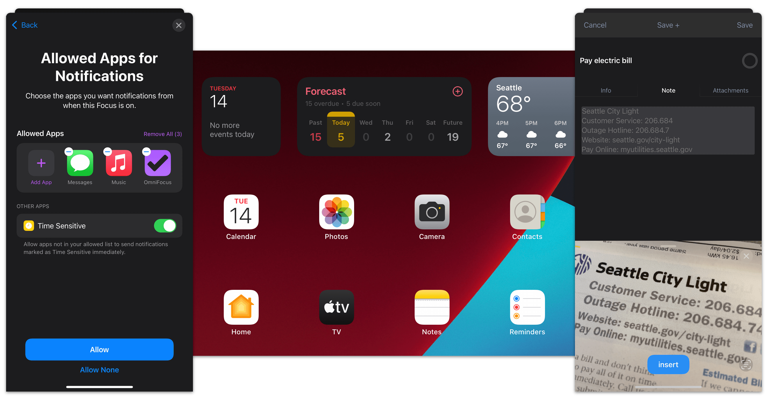 OmniFocus 3 for iOS showcasing compatibility with the features of iOS 15 and iPadOS 15.