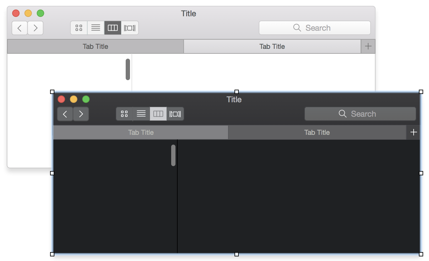 Screenshot showing light and dark macOS windows being edited in OmniGraffle