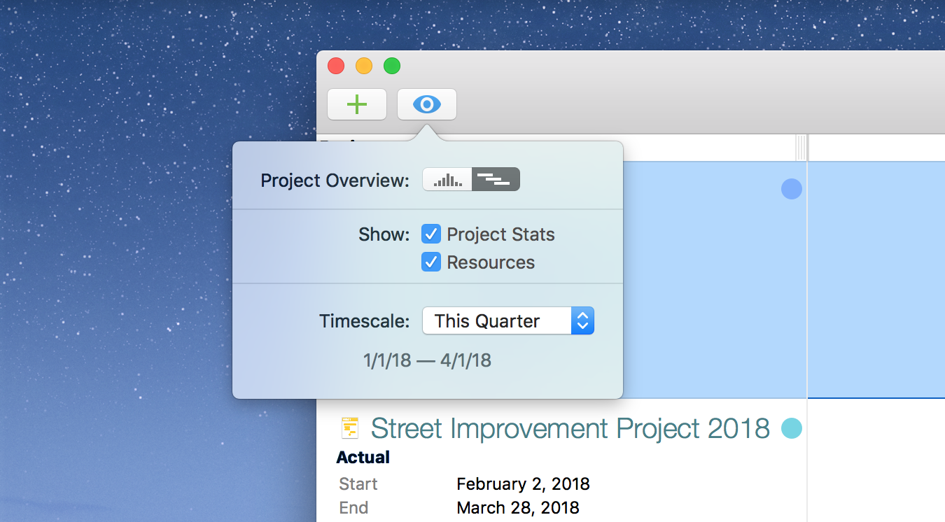Project Dashboard View popover in OmniPlan 3.9