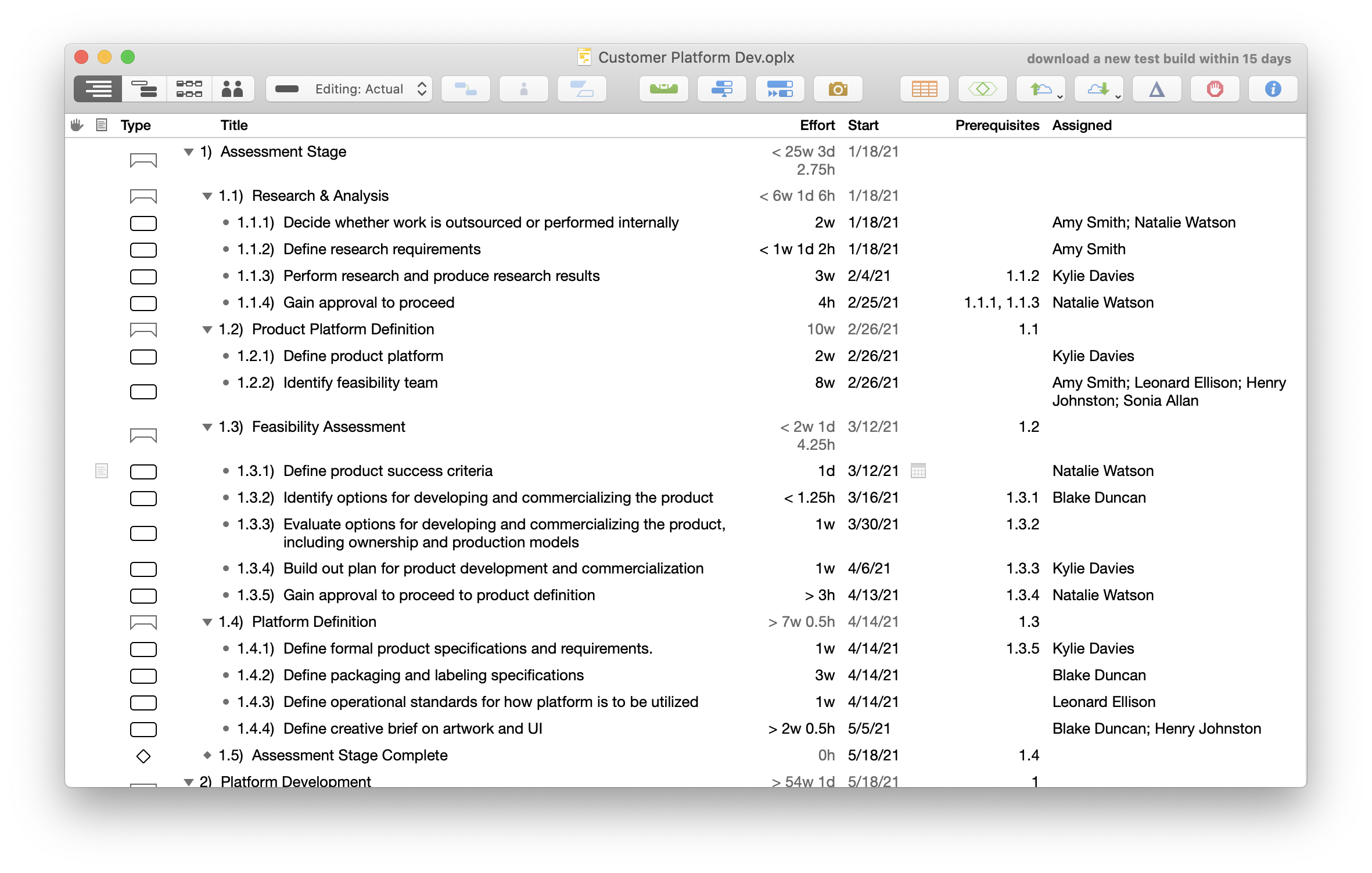 Viewing the task outline in OmniPlan 4 for Mac