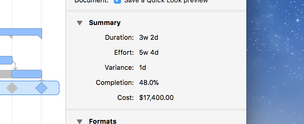 Screenshot of the Project Summary inspector showing project totals.