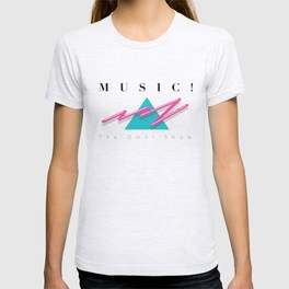 T-shirt with the word Music in an '80s style
