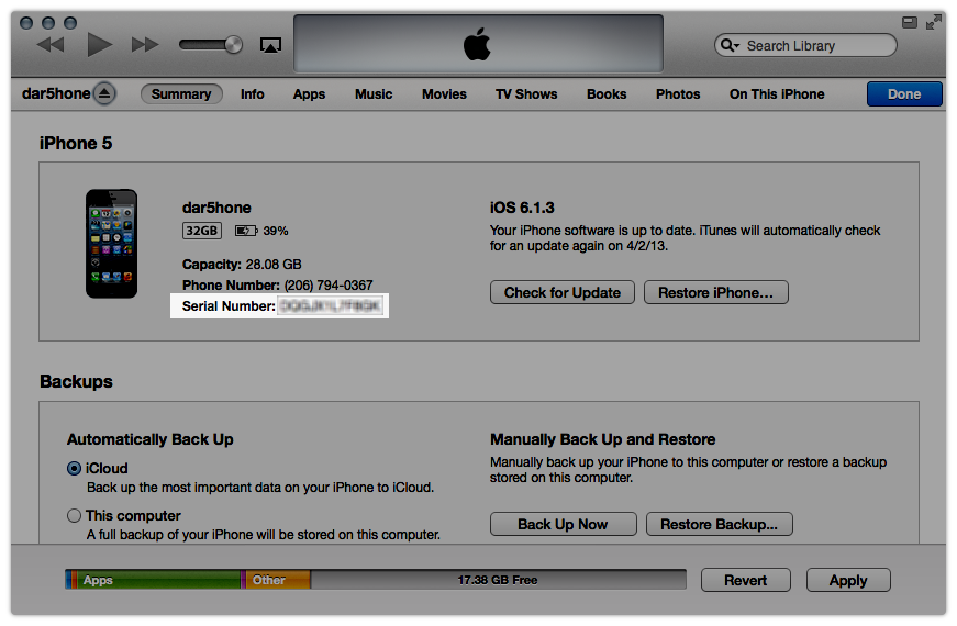 iTunes device information