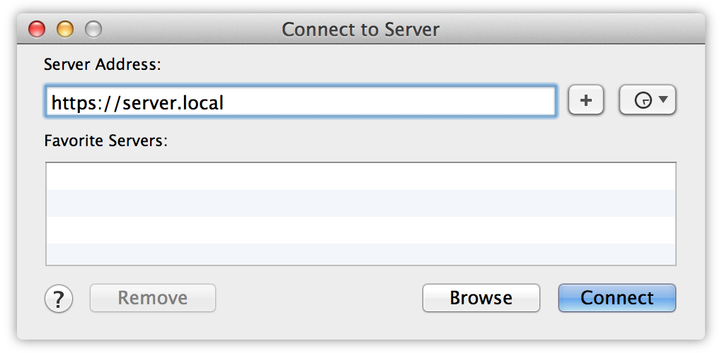 Finder: Connect to Server