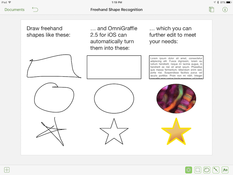 Shape recognition in OmniGraffle for iOS